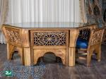 میز و صندلی ناهار,غذا خوری چوبی سنتی گره چینی مشبک صنایع چوب ساج مدل ۳۲۸