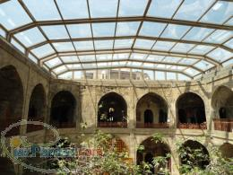 سقف متحرک حیاط - حیاط مسجد - فضای سبز - رستوران