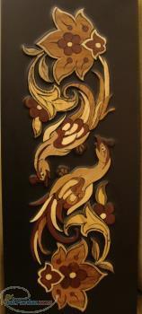 تابلو معرق زمینه رنگ با طرح اصیل و سنتی گل و مرغ