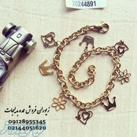 دستبند عمده آویزدار تاج و قلب و گل  در زیوران