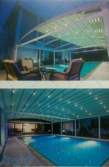 سقف استخر-پوشش سقف استخر-سازه پارچه ای -سقف متحرک استخر 09380039293